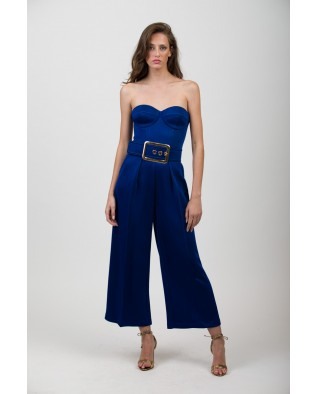 Blue jumsuit with belt
